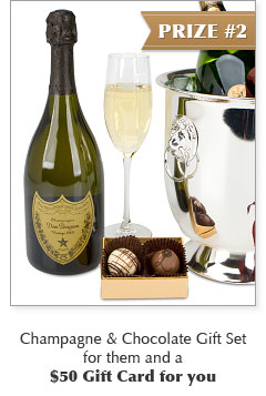 Champagne & Chocolate Gift Set for them and a $50 Gift Card for you