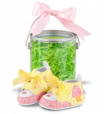 Baby Gift Baskets: Hand-Painted Cupcake Booties