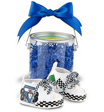 Baby Gift Baskets: Hand-Painted Racing Booties