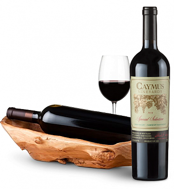 Wine Totes & Carriers: Root Presentation Bowl with Caymus Special Selection Cabernet Sauvignon