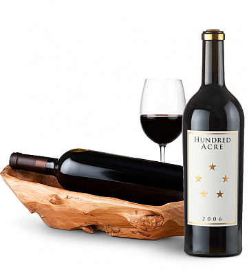 Wine Totes & Carriers: Root Presentation Bowl with Hundred Acre Ark Vinyard Cabernet
