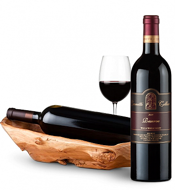 Wine Totes & Carriers: Root Presentation Bowl with Leonetti Reserve Red