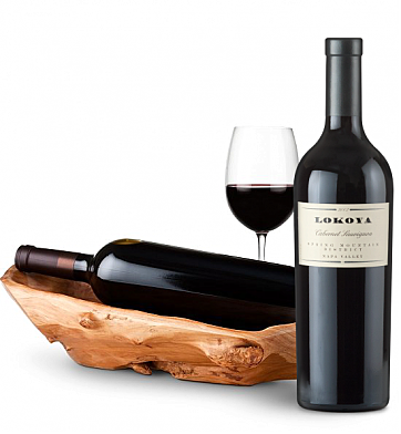Wine Totes & Carriers: Root Presentation Bowl with Lokoya Spring Mountain Cabernet 2007