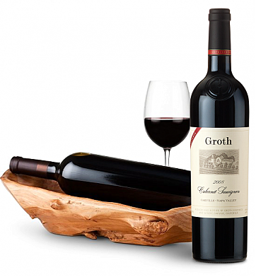 Wine Totes & Carriers: Root Presentation Bowl with Groth Reserve Cabernet Sauvignon 2008