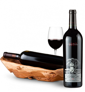 Wine Totes & Carriers: Root Presentation Bowl with Silver Oak Napa Valley Cabernet