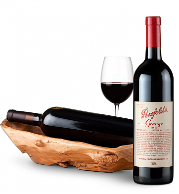 Wine Totes & Carriers: Root Presentation Bowl with Penfolds Grange 2007