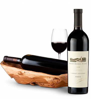 Wine Totes & Carriers: Root Presentation Bowl with Robert Mondavi Reserve Cabernet 2009