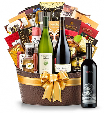 Premium Wine Baskets: The Hamptons Luxury Wine Basket-Silver Oak Napa Valley Cabernet Sauvignon 2008