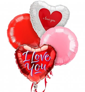 Balloons: Valentine's Day Balloon Bouquet-4 Mylar