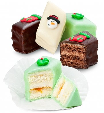 Cakes and Desserts: Two Dozen Christmas Petit Four Cakes