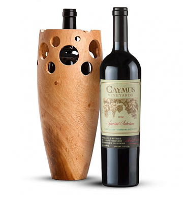 Premium Wine Baskets: Handmade Wooden Wine Vase with Caymus Special Selection Cabernet Sauvignon 2010
