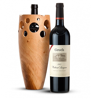 Premium Wine Baskets: Handmade Wooden Wine Vase with Groth Reserve Cabernet Sauvignon 2008