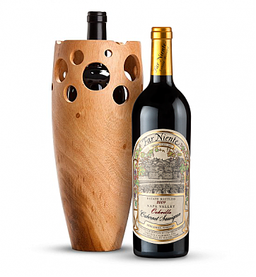 Premium Wine Baskets: Handmade Wooden Wine Vase with Far Niente Cabernet Sauvignon 2009