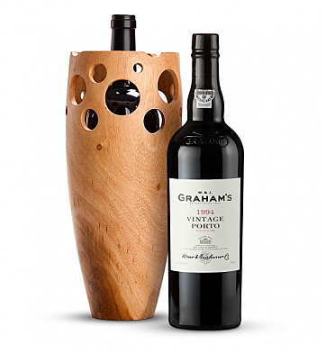 Premium Wine Baskets: Graham's Vintage Port 1994 in Handmade Wooden Wine Vase