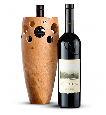 Premium Wine Baskets: Handmade Wooden Wine Vase with Quintessa Meritage Red 2009