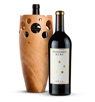 Premium Wine Baskets: Handmade Wooden Wine Vase with Hundred Acre Ark Vineyard Cabernet Sauvignon 2010