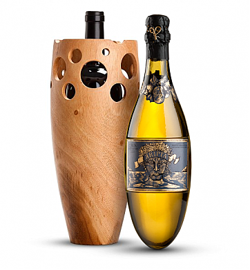 Premium Wine Baskets: Handmade Wooden Wine Vase with Kripta Brut Nature Cava Gran Reserva 2007
