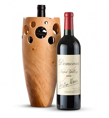 Premium Wine Baskets: Handmade Wooden Wine Vase with Dominus Estate 2009