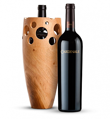Premium Wine Baskets: Handmade Wooden Wine Vase with Cardinale Cabernet Sauvignon 2008