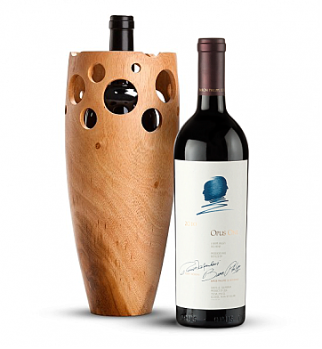 Premium Wine Baskets: Handmade Wooden Wine Vase with Opus One 2010