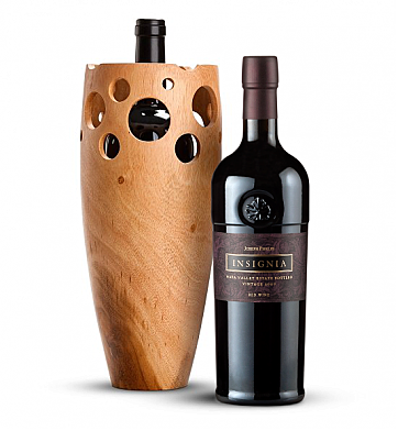Wine Accessories & Decanters: Joseph Phelps Napa Valley Insignia Red 2009 with Handmade Wooden Wine Vase