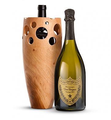 Wine Accessories & Decanters: Dom Perignon 2004 with Handmade Wooden Wine Vase