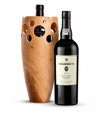 Premium Wine Baskets: Handmade Wooden Wine Vase with Warre' Vintage Port 2011