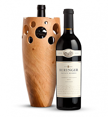 Wine Accessories & Decanters: Beringer Private Reserve Cabernet Sauvignon 2010 with Handmade Wooden Wine Vase