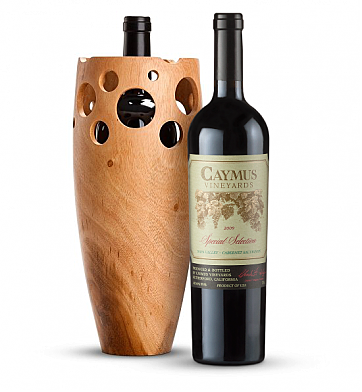 Premium Wine Baskets: Handmade Wooden Wine Vase with Caymus Special Selection Cabernet Sauvignon 2009