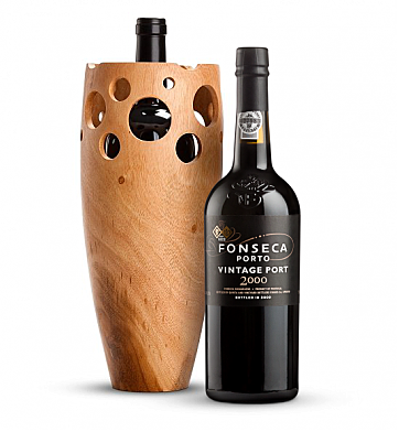 Wine Accessories & Decanters: Fonseca Vintage Port 2000 with Handmade Wooden Wine Vase