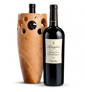Wine Accessories & Decanters: Hourglass Blueline Estate Cabernet Sauvignon 2013 with Handmade Wooden Wine Vase