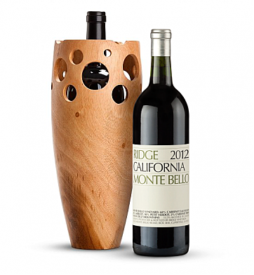 Wine Accessories & Decanters: Ridge Monte Bello 2012 with Handmade Wooden Wine Vase