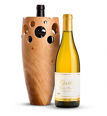 Wine Accessories & Decanters: Kistler Trenton Roadhouse Chardonnay Sonoma Coast 2013 with Handmade Wooden Wine Vase