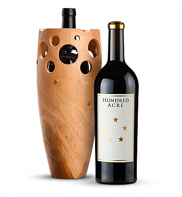 Wine Accessories & Decanters: Hundred Acre Kayli Morgan Cabernet Sauvignon 2014 with Handmade Wooden Wine Vase