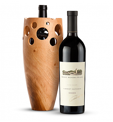Wine Accessories & Decanters: Robert Mondavi Reserve Cabernet Sauvignon 2013 with Handmade Wooden Wine Vase