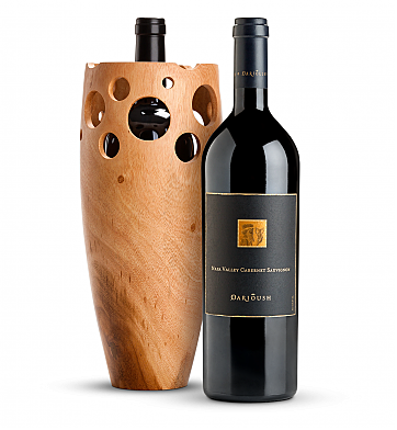 Wine Accessories & Decanters: Darioush Signature Napa Valley Cab 2015 with Handmade Wooden Wine Vase
