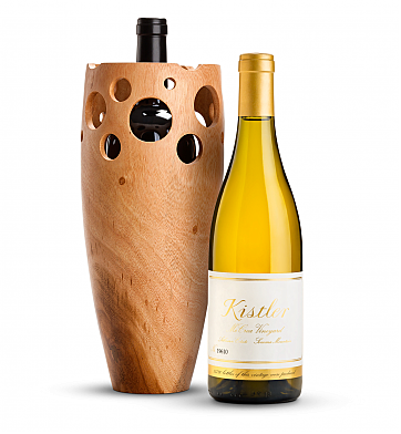 Wine Accessories & Decanters: Kistler Vineyard McCrea Chardonnay Sonoma Mountain 2016 with Handmade Wooden Wine Vase