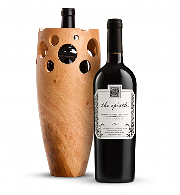 Wine Accessories & Decanters: The Epistle Reserve Cabernet Sauvignon with Handmade Wooden Vase