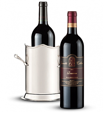 Wine Accessories & Decanters: Double-Handled Luxury Wine Holder with Leonetti Reserve Red 2006