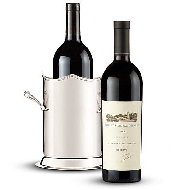 Wine Totes & Carriers: Double-Handled Luxury Wine Holder with Robert Mondavi Reserve 2006 Cabernet Sauvignon