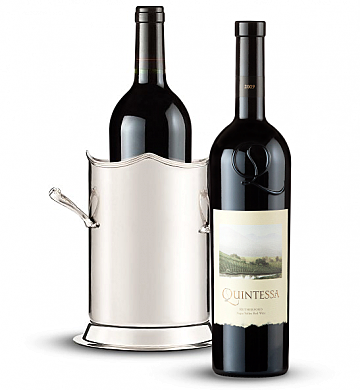 Wine Accessories & Decanters: Double-Handled Luxury Wine Holder with Quintessa Meritage Red 2009