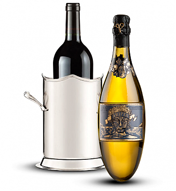 Wine Totes & Carriers: Double-Handled Luxury Wine Holder with Kripta Brut Nature Cava Gran Reserva 2007