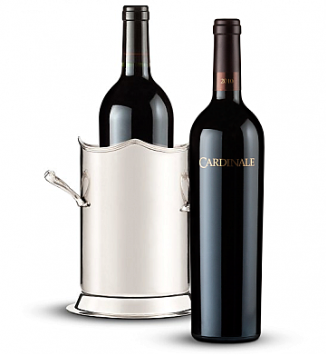 Wine Accessories & Decanters: Double Handled Luxury Wine Holder with Cardinale Cabernet Sauvignon 2010