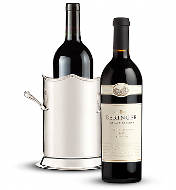 Wine Totes & Carriers: Double-Handled Luxury Wine Holder with Beringer Private Reserve Cabernet Sauvignon 2008