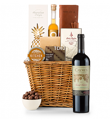Premium Wine Baskets: Caymus Special Selection Cabernet Sauvignon 2013 Sand Hill Road Luxury Gift Basket