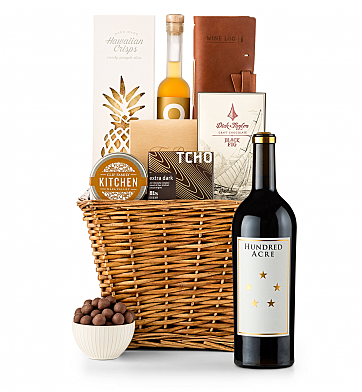 Premium Wine Baskets: Hundred Acre Few And Far Between Cabernet Sauvignon 2012 Sand Hill Road Luxury Gift Basket