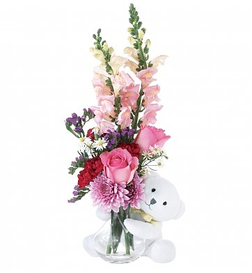 Flower Bouquets: Bear Hug for Valentine's Day