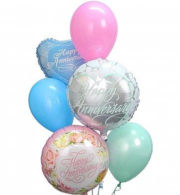 Balloons: Anniversary Balloon Bouquet-6 Mixed