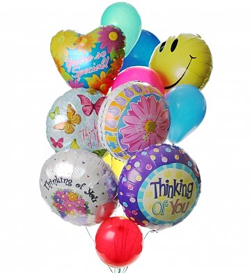 Balloons: Thinking of You Balloon Bouquet-12 Mixed