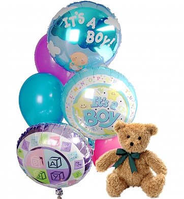 Balloons & Bear: New Baby Balloons & Bear-6 Mixed